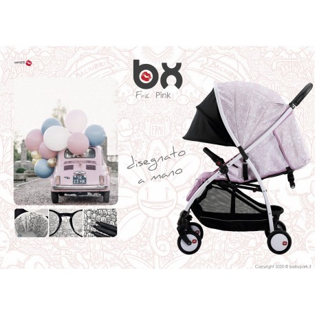 BX Frà-Pink passeggino ultra leggero, chiusura Lampo, traspirante full optional, Baciuzzi